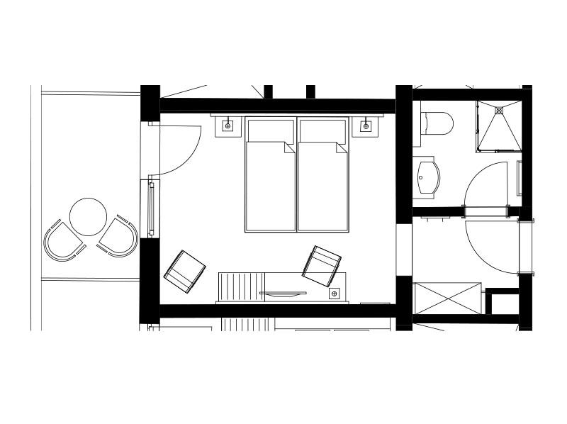 Skizze – Doppelzimmer Komfort Plus