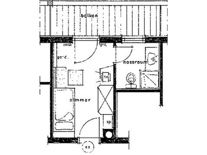 [Translate to en:] Skizze Einzelzimmer Standard